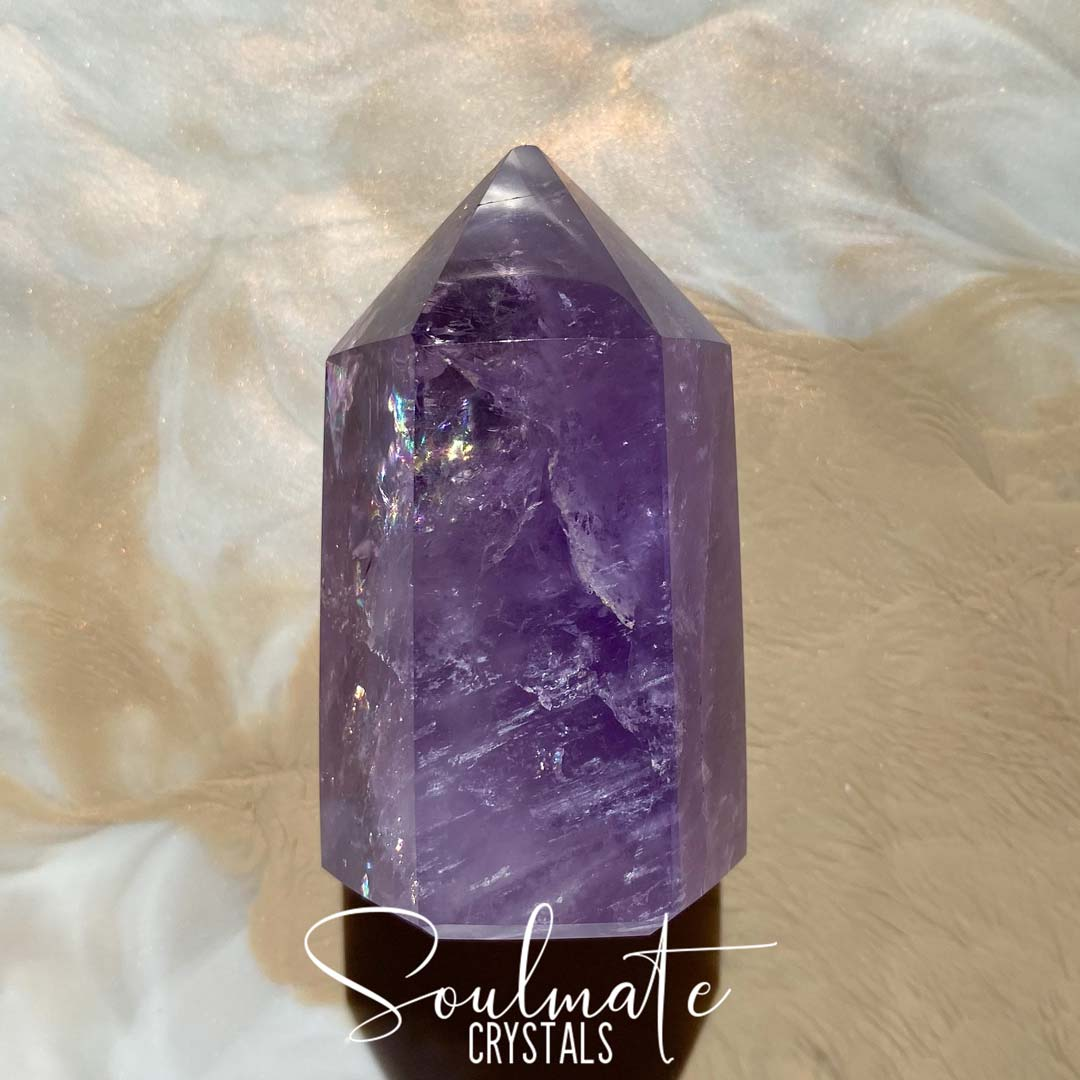 Soulmate Crystals Amethyst Polished Crystal Point, Purple Crystal Generator for Calm, Serenity and Reduce Anxiety
