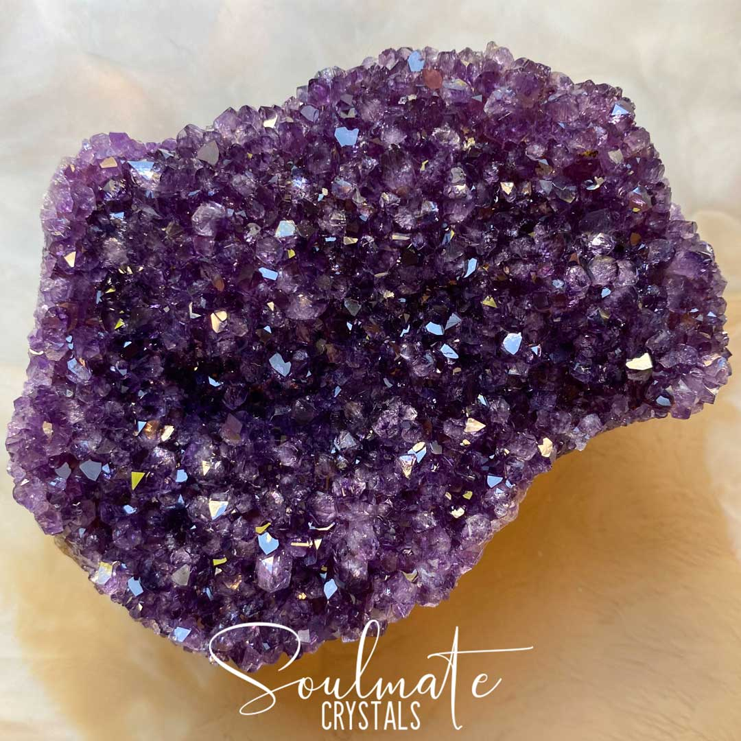 Soulmate Crystals Amethyst Raw Natural Cluster, Purple Crystal Cluster for Calm, Serenity and Reduce Anxiety, Brazil, Grade AA