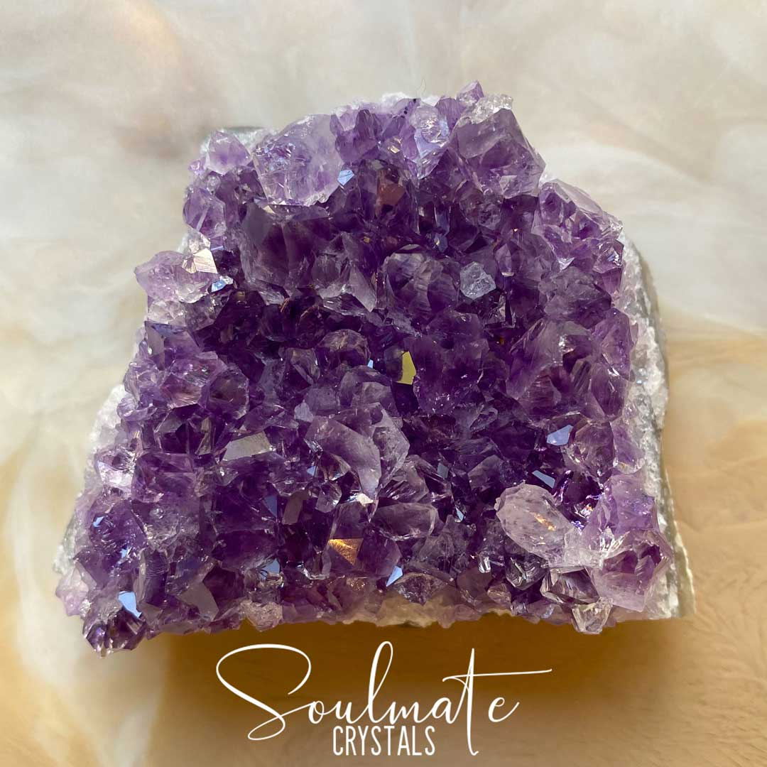 Soulmate Crystals Amethyst Raw Natural Cluster, Purple Crystal Cluster for Calm, Serenity and Reduce Anxiety, Brazil, Extra Quality Grade