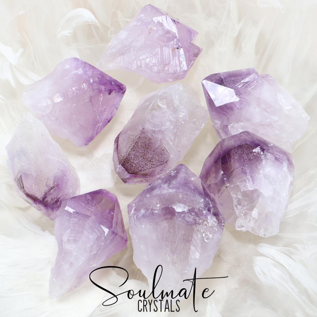 Soulmate Crystals Amethyst Raw Natural Point, Purple Crystal for Calm, Serenity and Reduce Anxiety, Size Jumbo