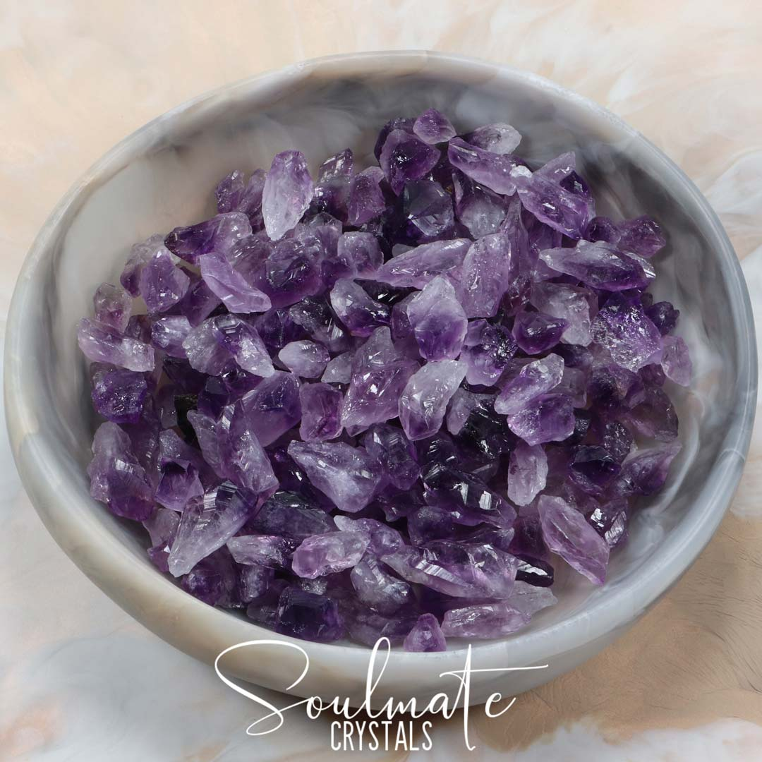 Soulmate Crystals Amethyst Raw Stone Points Pieces, Raw Purple Crystal Gem for Calm, Serenity and Reduce Anxiety, Brazil, Size Small