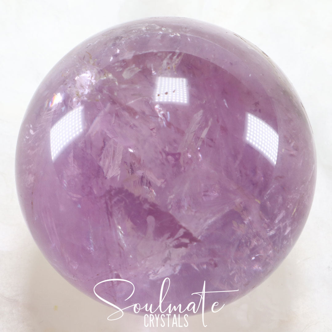 Soulmate Crystals Amethyst Polished Crystal Sphere, Purple Crystal Ball for Calm, Serenity and Reduce Anxiety