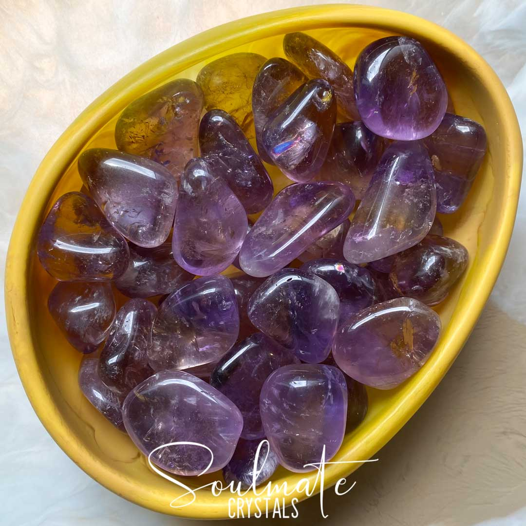 Soulmate Crystals Ametrine Tumbled Stone, Polished Purple and Gold Crystal for Harmony, Vitality and Manifestation, Grade A