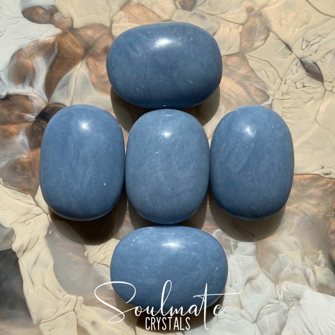Soulmate Crystals Angelite Polished Palm Stone, Pale Blue Crystal for Stress Relief, Peace and Relaxation, Size Jumbo, Grade AA