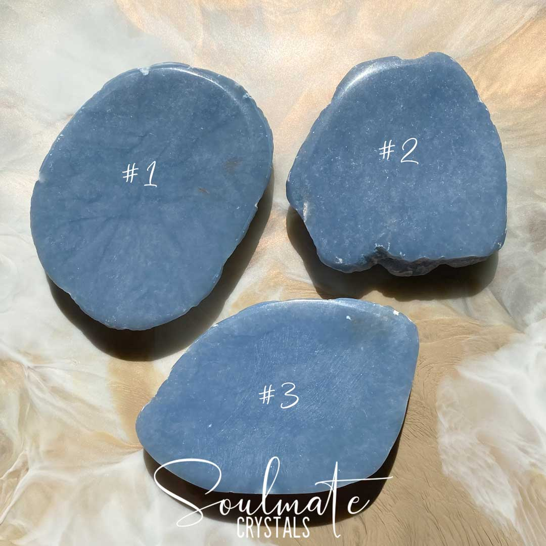Soulmate Crystals Angelite Polished Stone Slab, Pale Blue Crystal for Stress Relief, Peace and Relaxation, Grade AA