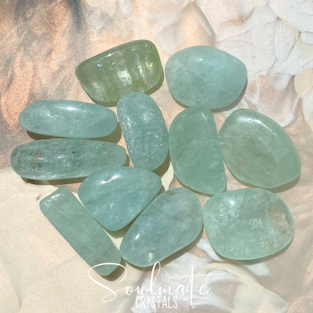 Soulmate Crystals Aquamarine Tumbled Stone, Polished Sea Green Crystal for Love, Luck and Courage, Size Small, Grade A-AA