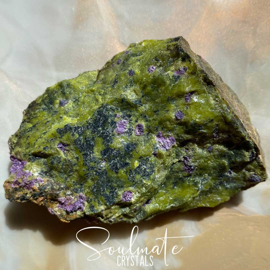 Soulmate Crystals Atlantisite Raw Natural Stone, Unpolished Serpentine Green Crystal with Stitchtite Purple Inclusions for Wisdom, Compassion and Forgiveness