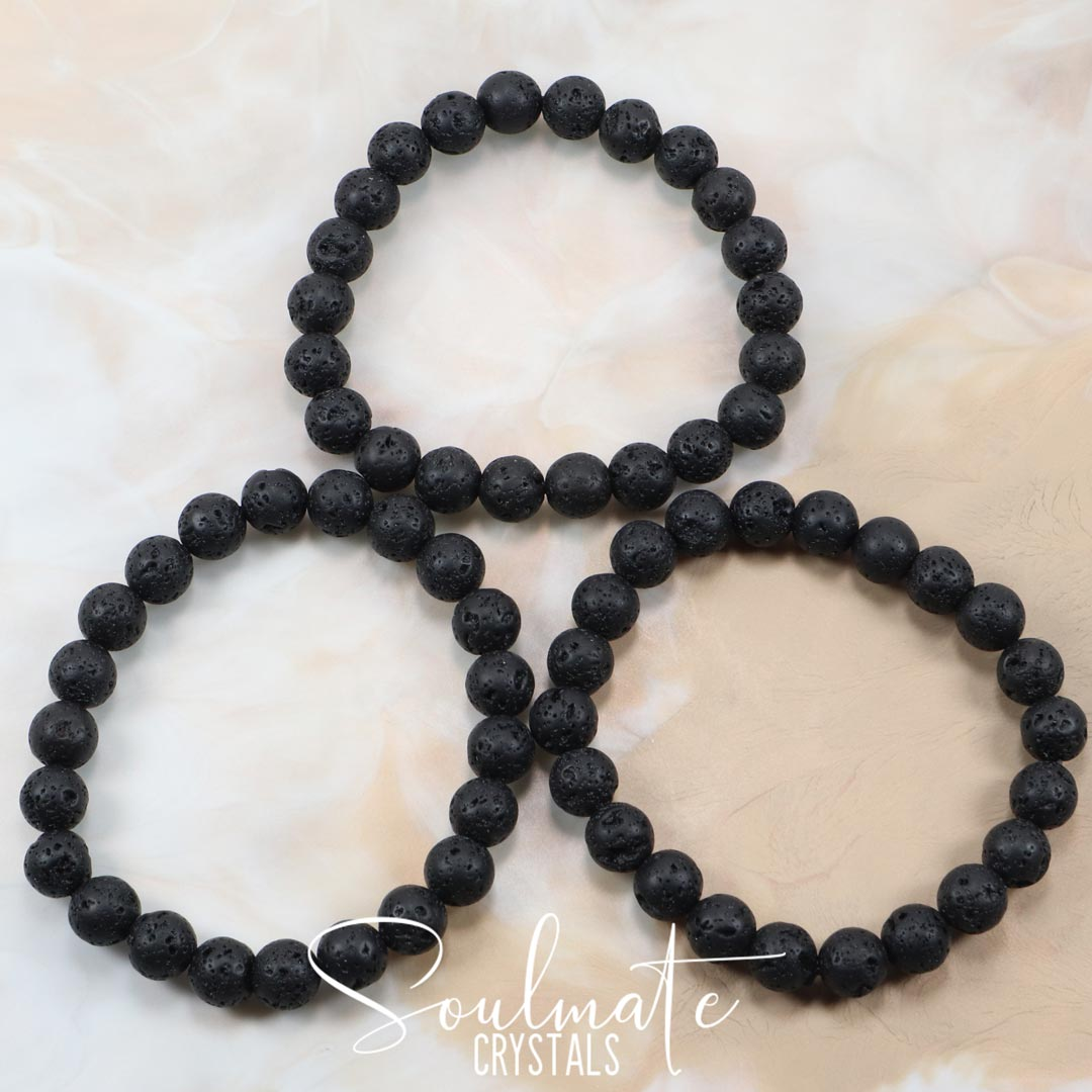 Soulmate Crystals Black Lava Stone Aromatherapy Bracelet, Polished Volcanic Rock Black Crystal Jewellery for Grounding and Relaxation, Size 8mm