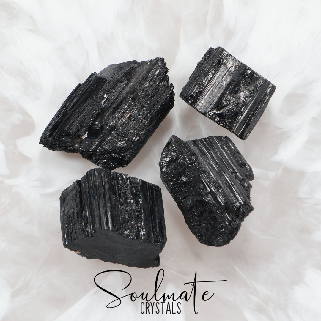 Soulmate Crystals Black Tourmaline Raw Stone Log, Black Crystal for EMF Protection, Grounding, Restoration and Shield Negativity, Size XL, Extra Large, Grade A