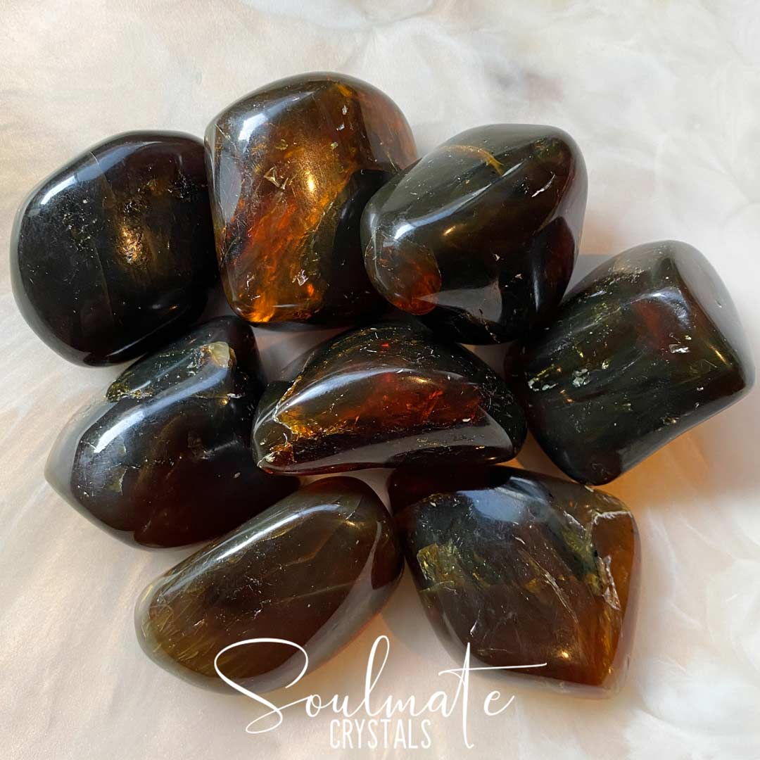 Soulmate Crystals Blue Amber Rare Tumbled Stone, Polished Dark Golden Amber Crystal for Peace, Stability, Spiritual Development, Fluoresces Blue, Size XL, Extra Large