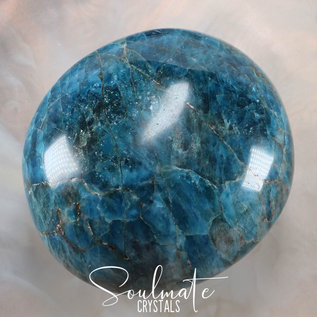 Soulmate Crystals Blue Apatite Polished Pebble, Dark Teal Blue Crystal for Big Goals, Clarity, Self-Expression and Confidence, Size Jumbo