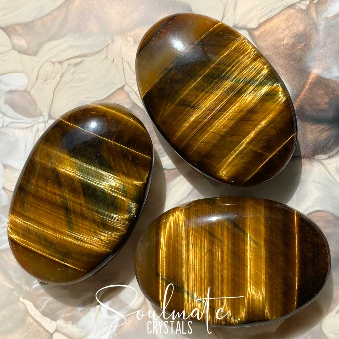 Soulmate Crystals Blue Gold Tiger's Eye Polished Palm Stone, Chatoyant Gold Blue Crystal for Wisdom, Guidance and Protection