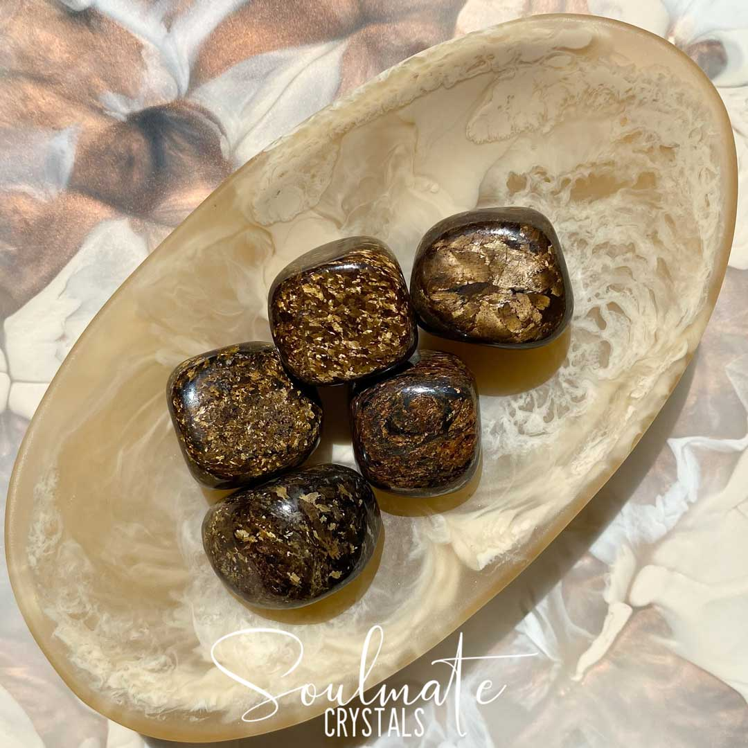 Soulmate Crystals Bronzite Tumbled Stone, Polished Chatoyant Golden Brown Crystal for Grounding, Protection, Assertiveness, Discernment
