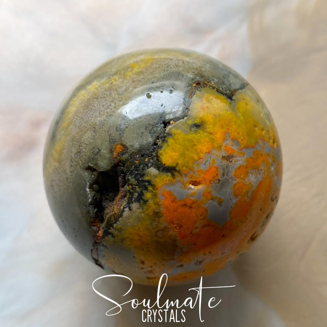 Soulmate Crystals Bumblebee Jasper Eclipse Stone Polished Sphere, Vibrant Yellow Polished Sphere for Manifestation