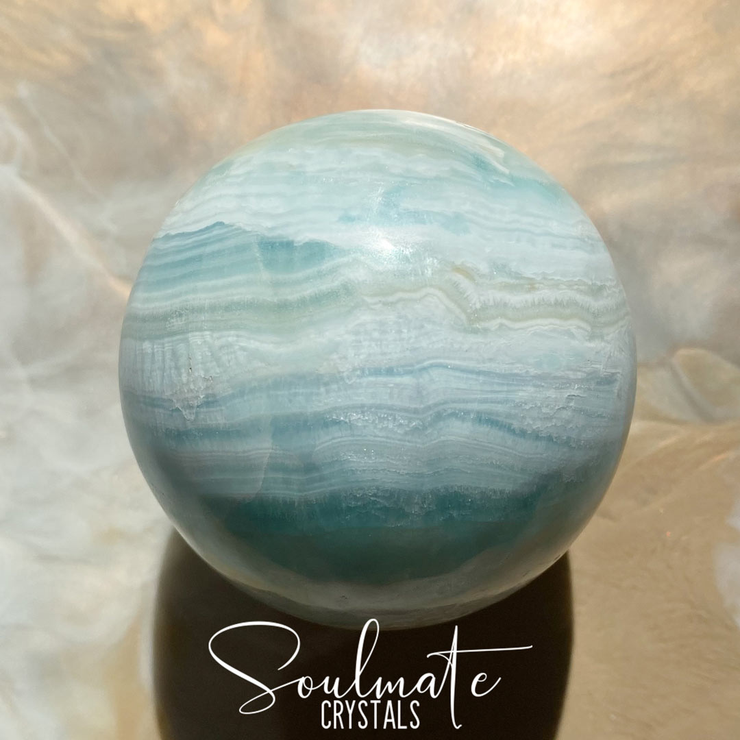 Soulmate Crystals Caribbean Calcite Polished Crystal Sphere, Light Aqua Blue Crystal for Serenity, Meditation, Relaxation