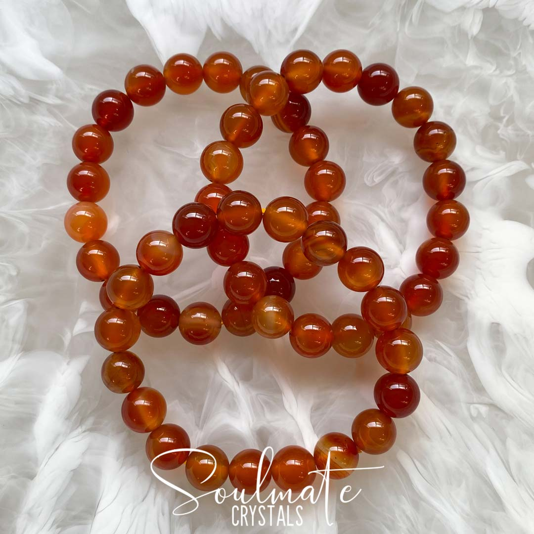 Soulmate Crystals Carnelian Polished Crystal Bracelet, Orange Crystal for Mindfulness, Vitality and Creativity, One Size