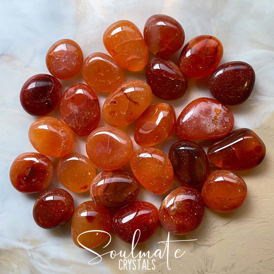 Soulmate Crystals Carnelian Tumbled Stone, Polished Orange Crystal for Mindfulness, Vitality and Creativity, Size Small