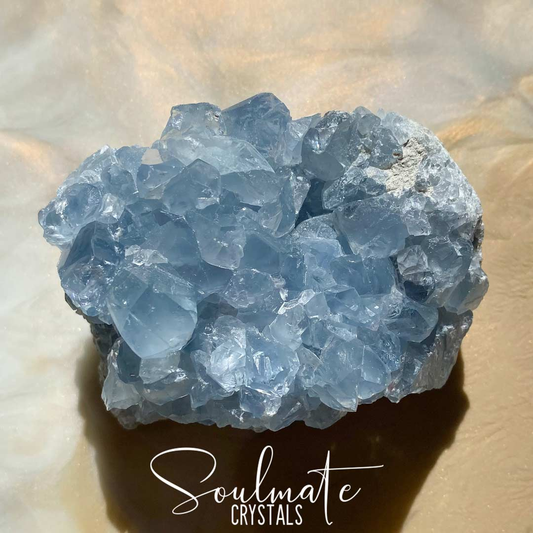 Soulmate Crystals Celestite Raw Natural Cluster EQ, Gemmy Blue Crystal for Calm, Spiritual Development, Serenity and Sleep