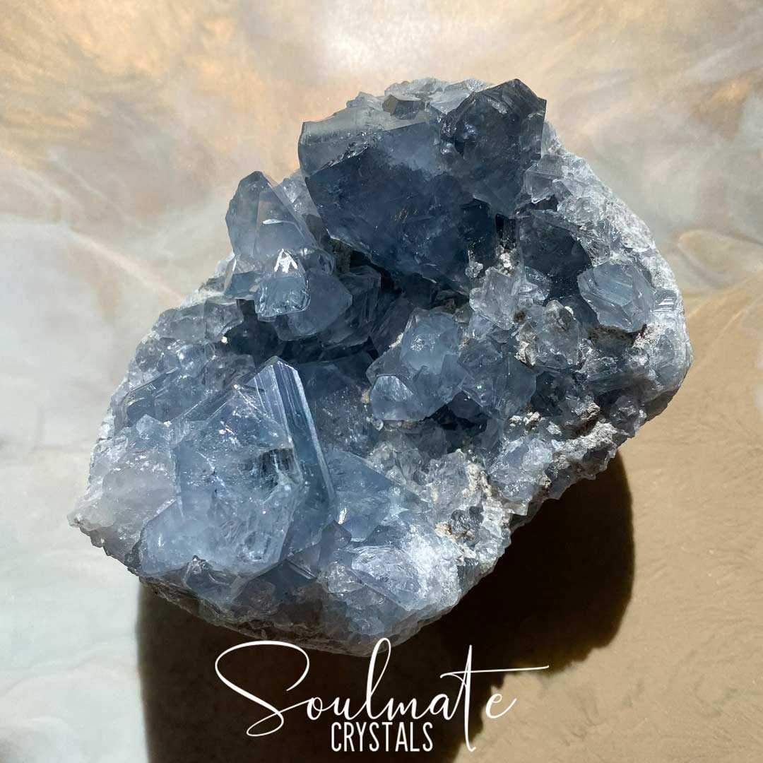 Soulmate Crystals Celestite Raw Natural Cluster XXQ, Gemmy Blue Crystal for Calm, Spiritual Development, Serenity and Sleep