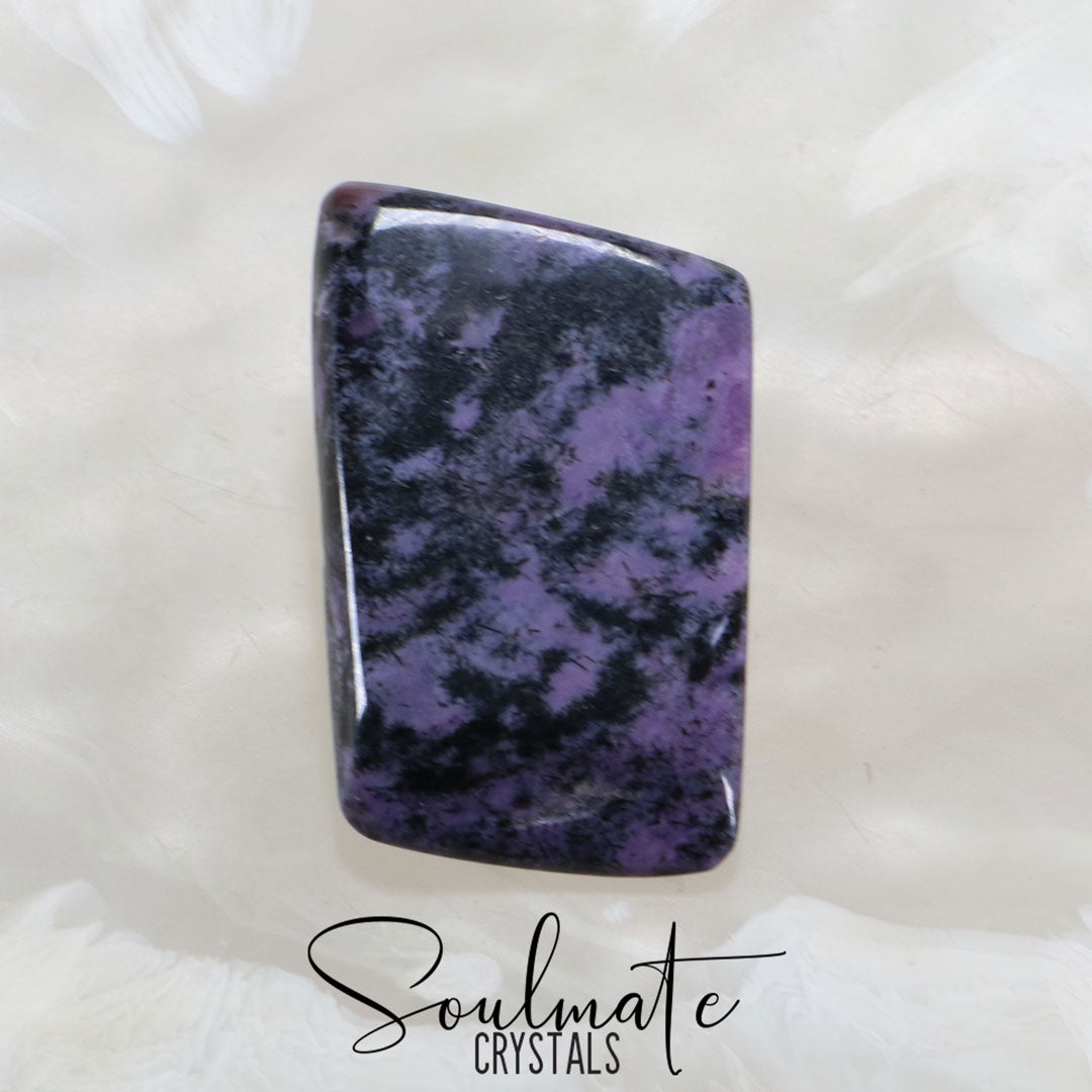 Soulmate Crystals Charoite Aegerine Polished Palm Stone, Black Patterned Purple Crystal for Insight, Courage and Strength