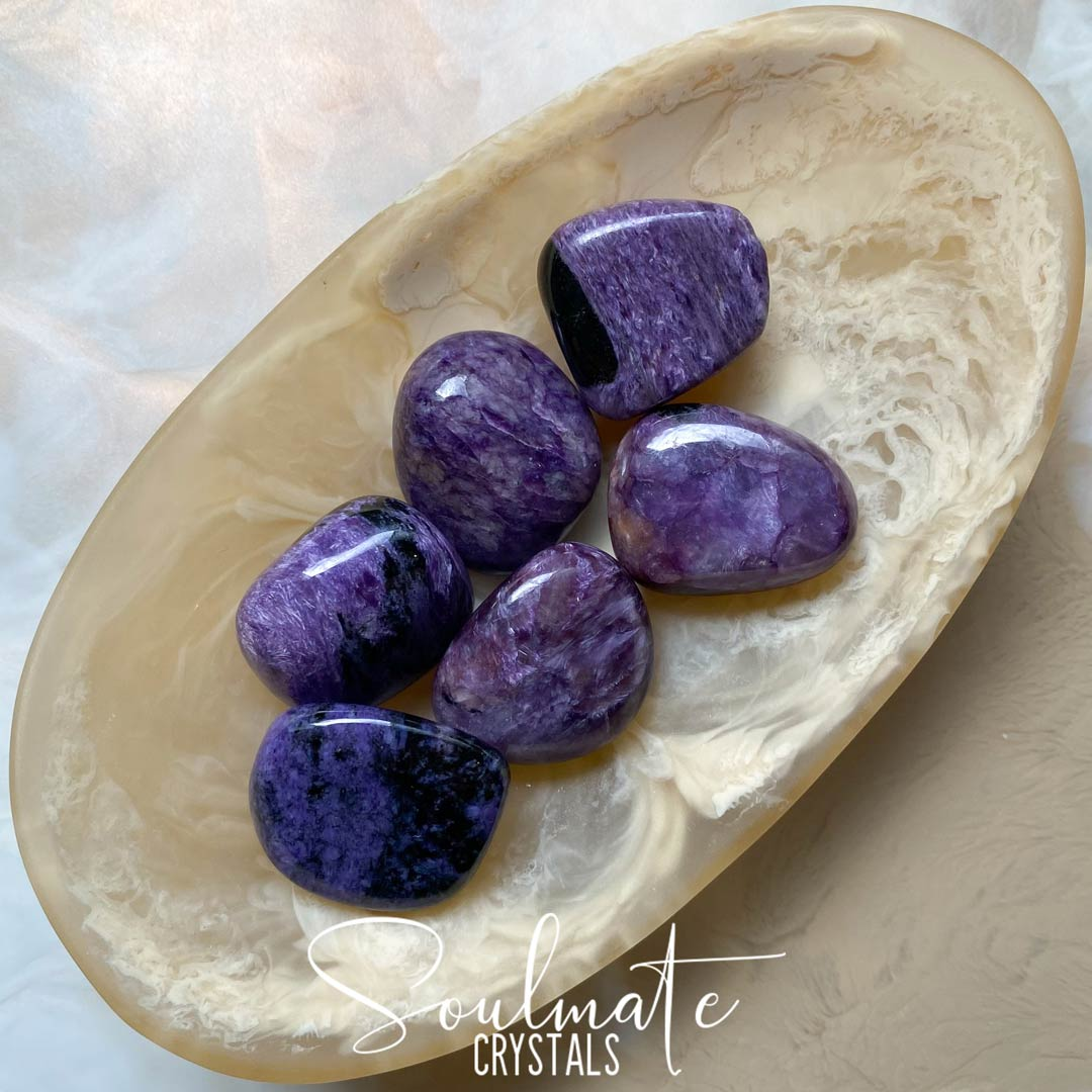 Soulmate Crystals Charoite Tumbled Stone, Purple Crystal for Insight, Courage and Strength