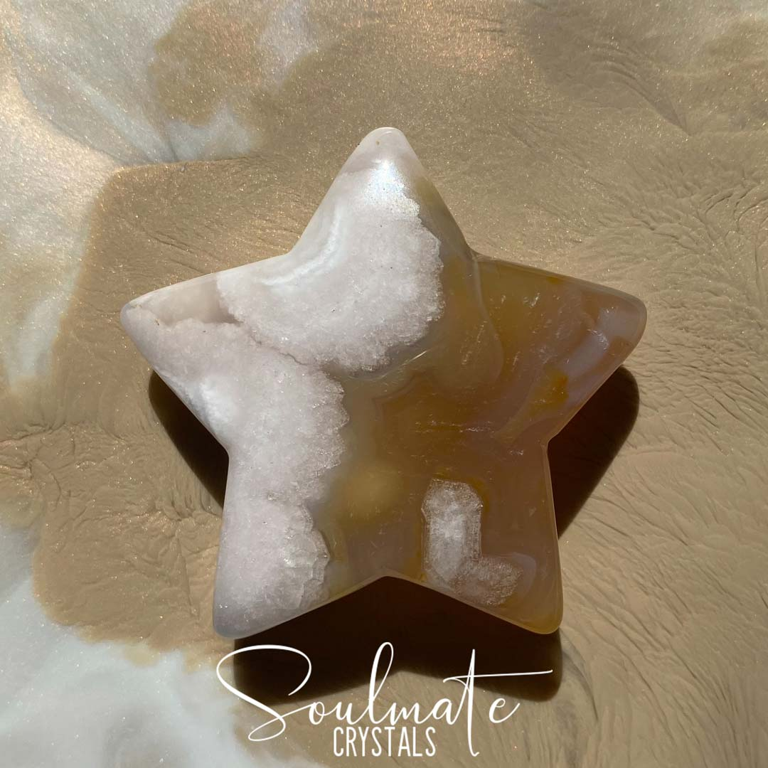 Soulmate Crystals Cherry Blossom Flower Agate Polished Star, Blush Crystal for Positivity and Expansion