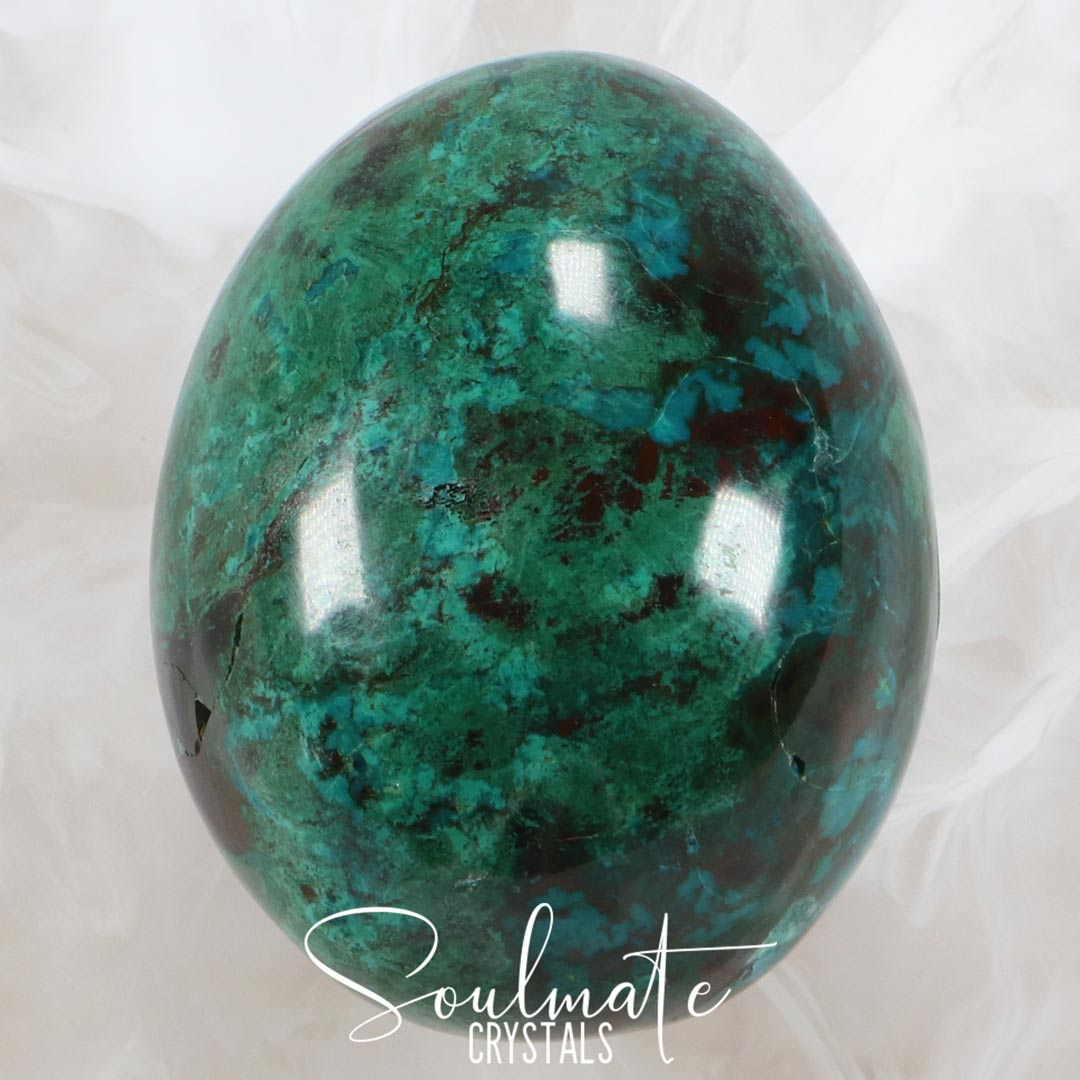 Soulmate Crystals Chrysocolla Polished Stone Egg, Teal Green Blue Crystal for Creative Potential, Divine Feminine, Harmony, Flow and Empowerment