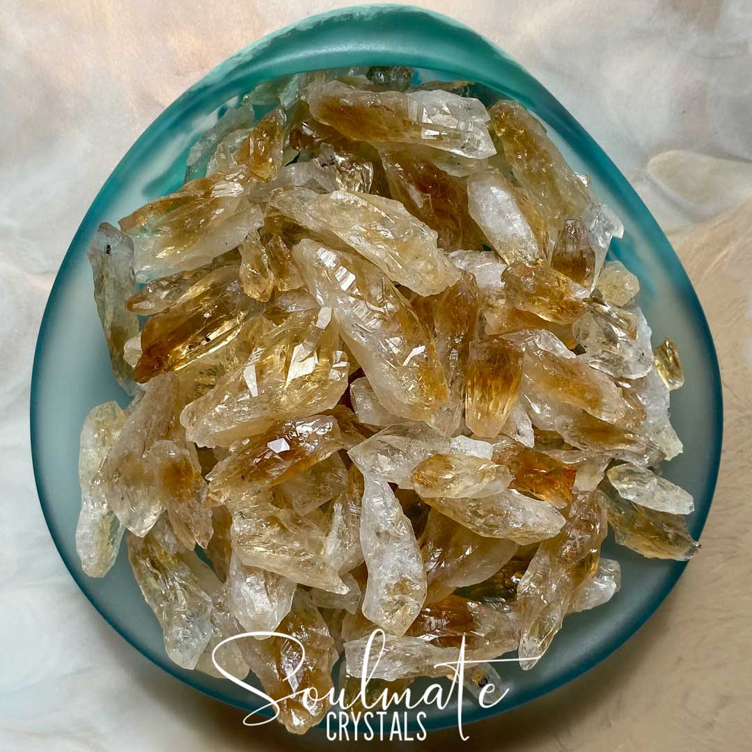 Soulmate Crystals Citrine Raw Natural Stone Mix, Rough, Unpolished Golden Yellow Citrine Crystal Rocks, Multi-Pack