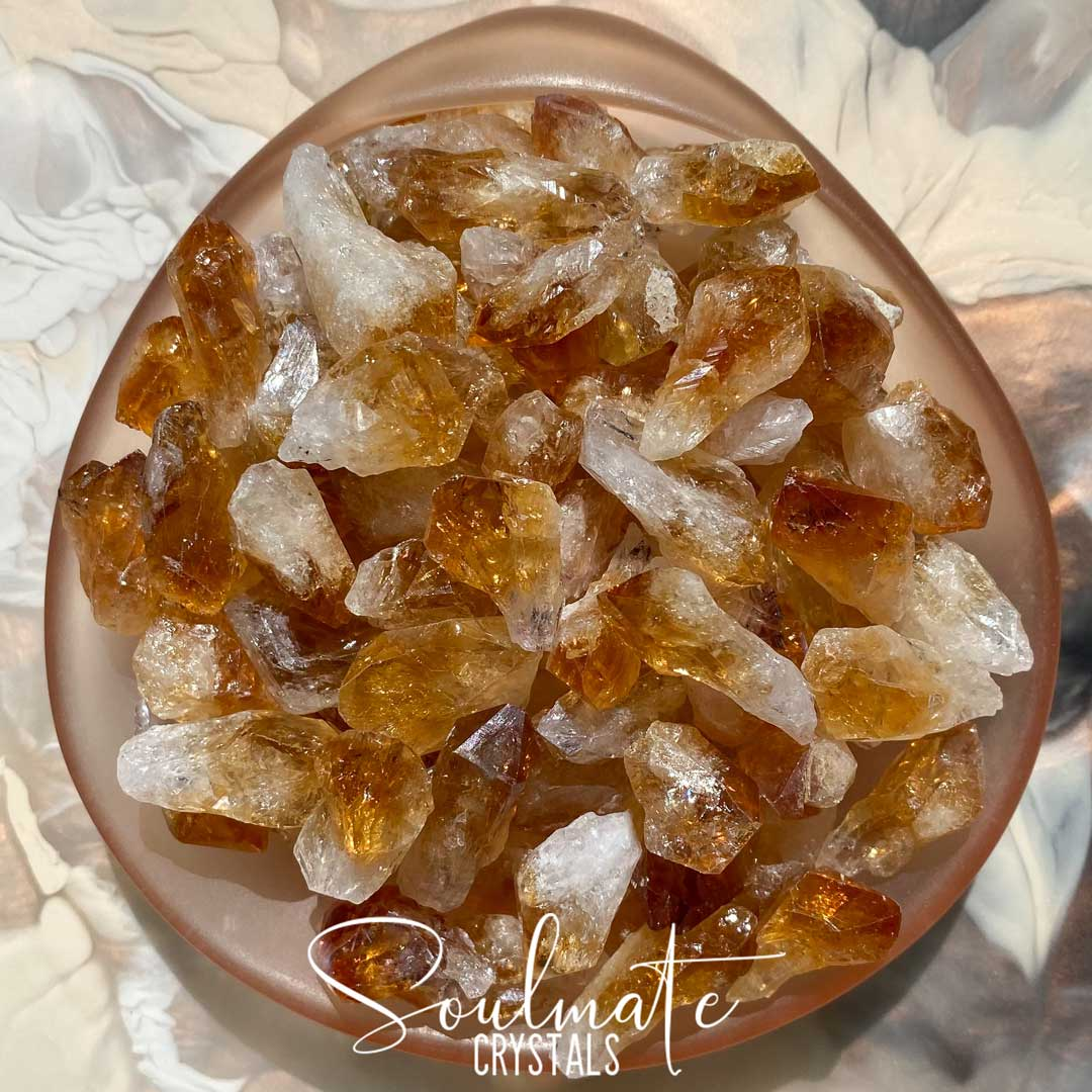 Soulmate Crystals Citrine Raw Natural Point Mix, Rough, Unpolished Golden Yellow Citrine Crystal Points, Multi-Pack