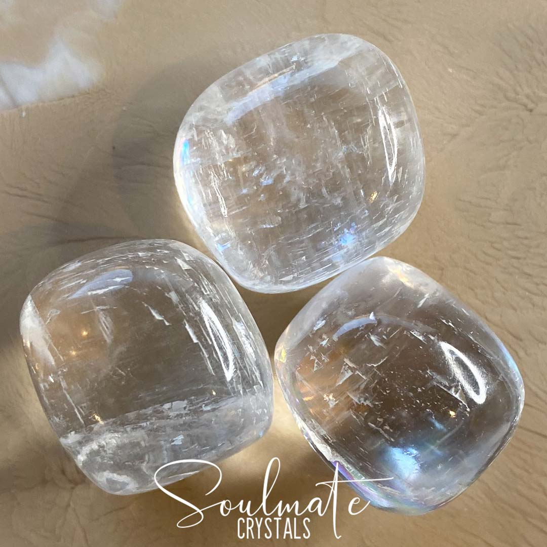 Soulmate Crystals Clear Calcite Tumbled Stone, Gemmy Clear Crystal for Healing, Cleansing, Light and Space Clearing, Size Large, Extra Quality