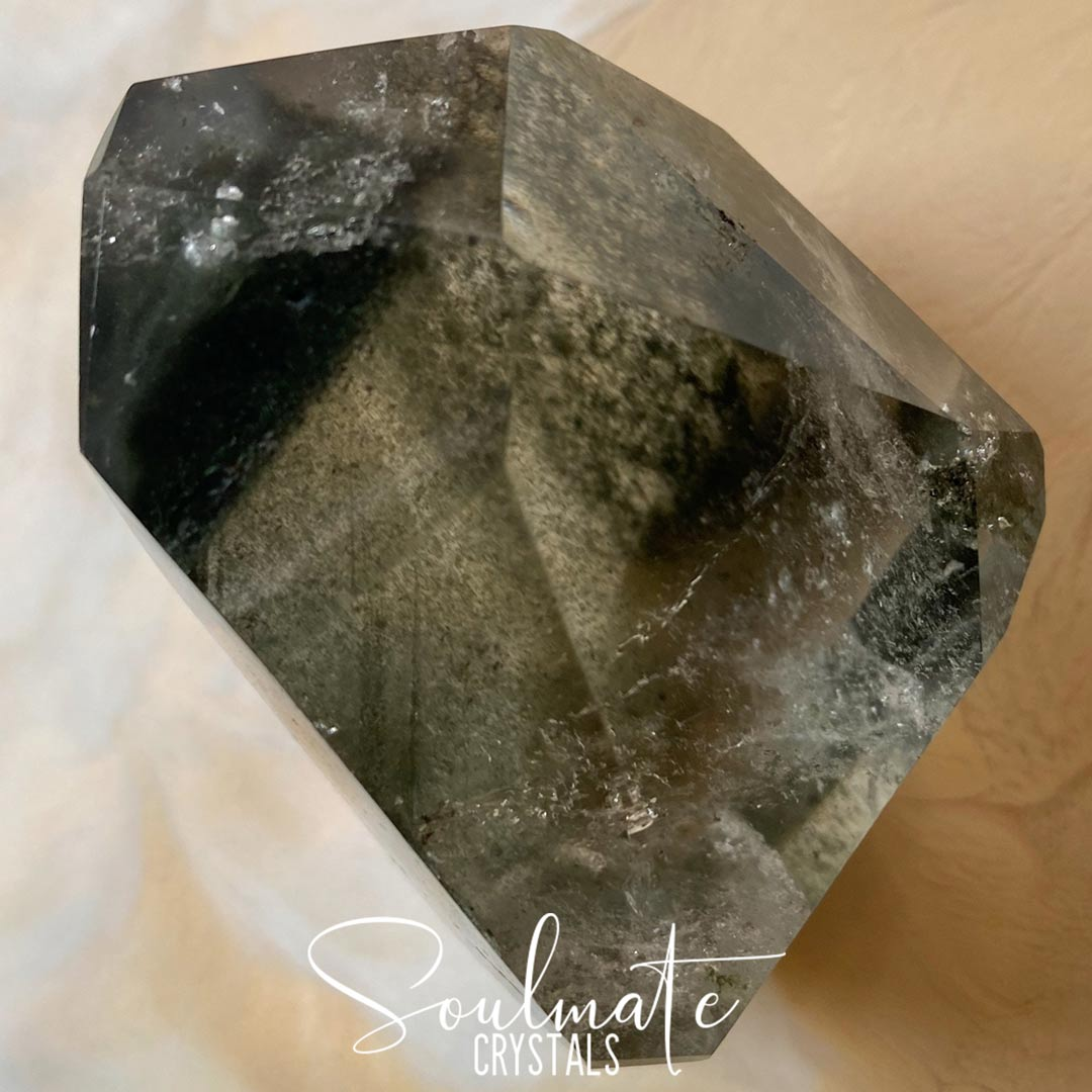 Soulmate Crystals Chlorite Quartz Polished Specimen, Green Chlorite Included Quartz, Clear Crystal for Cleansing, Stabilizing, Transmuting Negativity