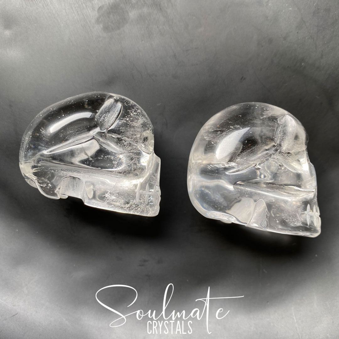 Soulmate Crystals Clear Quartz Hand Carved Polished Crystal Skull, Clear Crystal for Wisdom, Manifestation, Amplification and Universal Healing