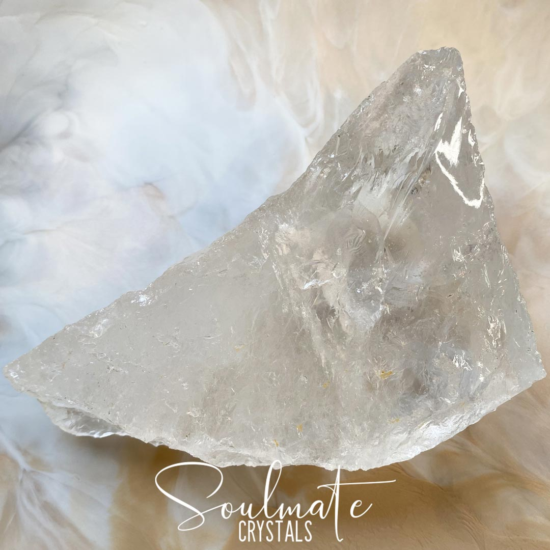 Soulmate Crystals Clear Quartz Raw Polished Specimen, Natural Clear Crystal for Manifestation, Amplification and Universal Healing