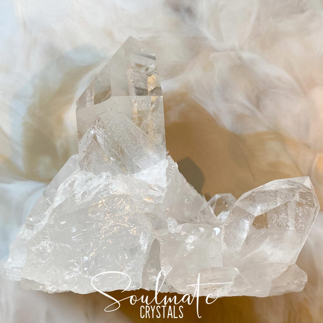 Soulmate Crystals Clear Quartz Cluster, Programmable Polished Clear Crystal for Manifestation, Amplification and Universal Healing, Grade A