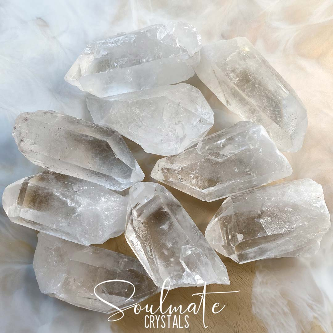 Soulmate Crystals Clear Quartz Raw Point, Natural Clear Crystal for Manifestation, Amplification and Universal Healing