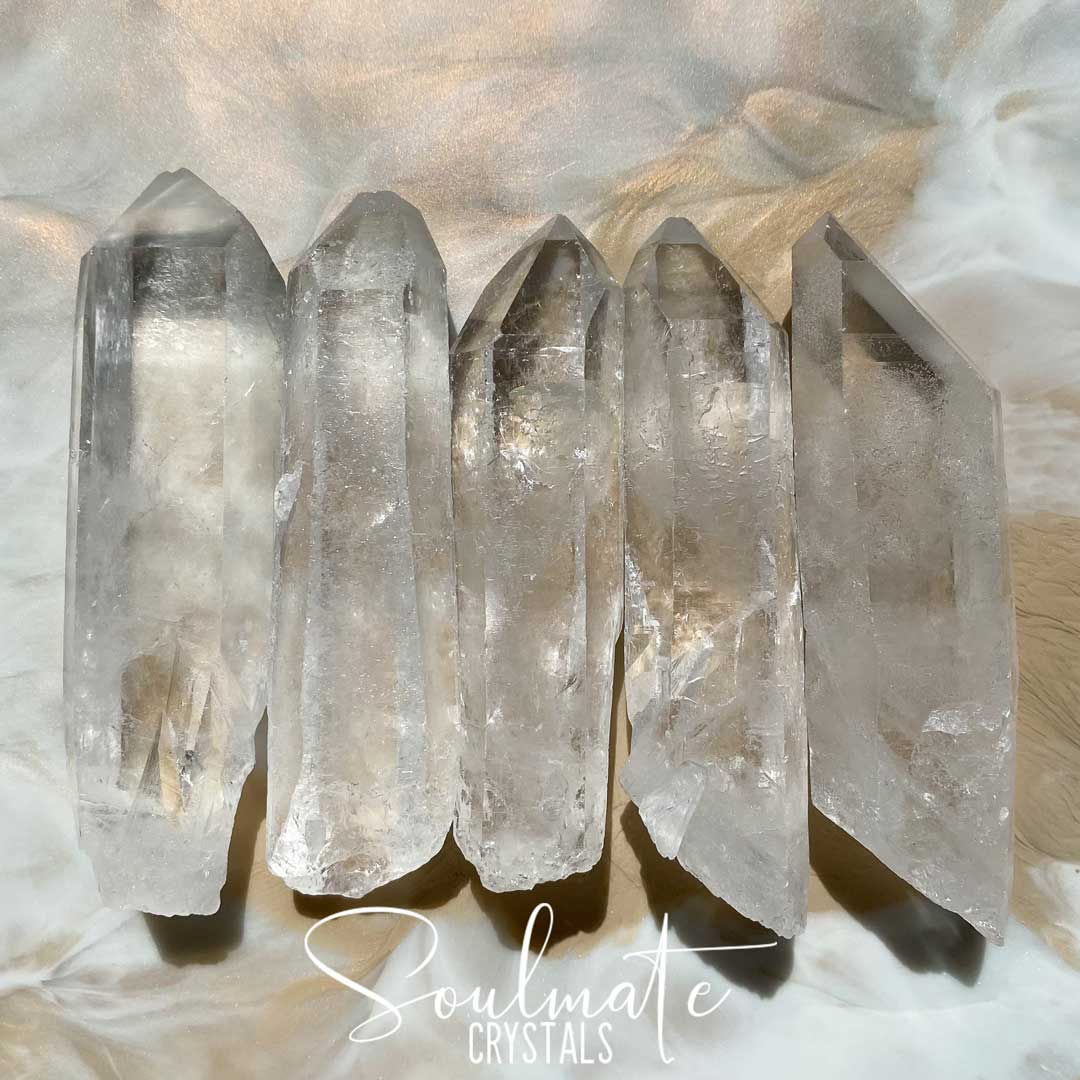 Soulmate Crystals Clear Quartz Raw Natural Wand, Unpolished Clear Crystal for Manifestation, Amplification and Universal Healing