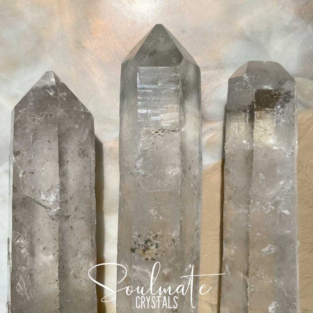Soulmate Crystals Clear Quartz Raw Crystal Wand, Natural Point Clear Crystal for Manifestation, Amplification and Universal Healing