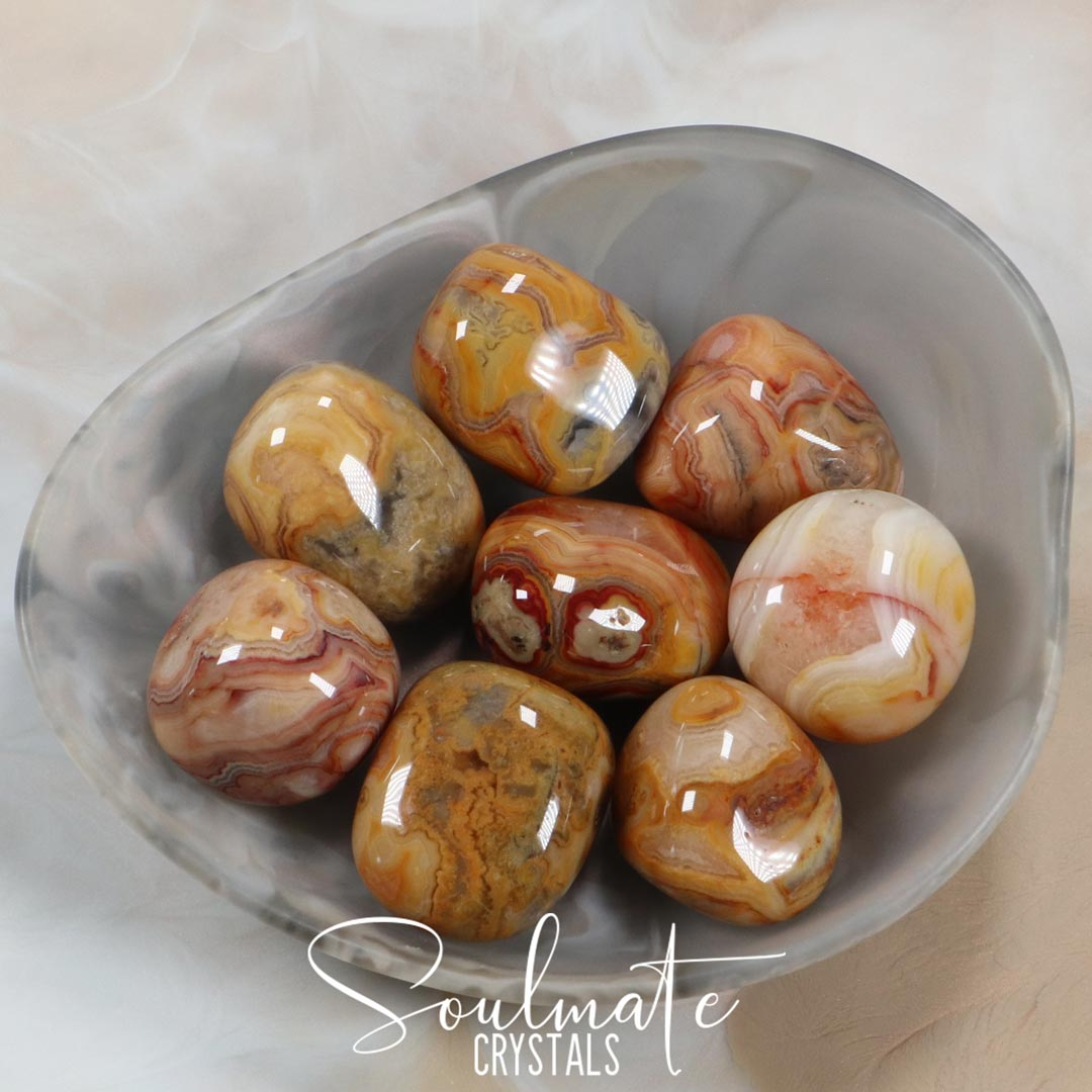 Soulmate Crystals Crazy Lace Agate Yellow Tumbled Stone, Patterned Yellow Crystal for Laughter, Happiness, Vitality and Emotional Stability, Size Large