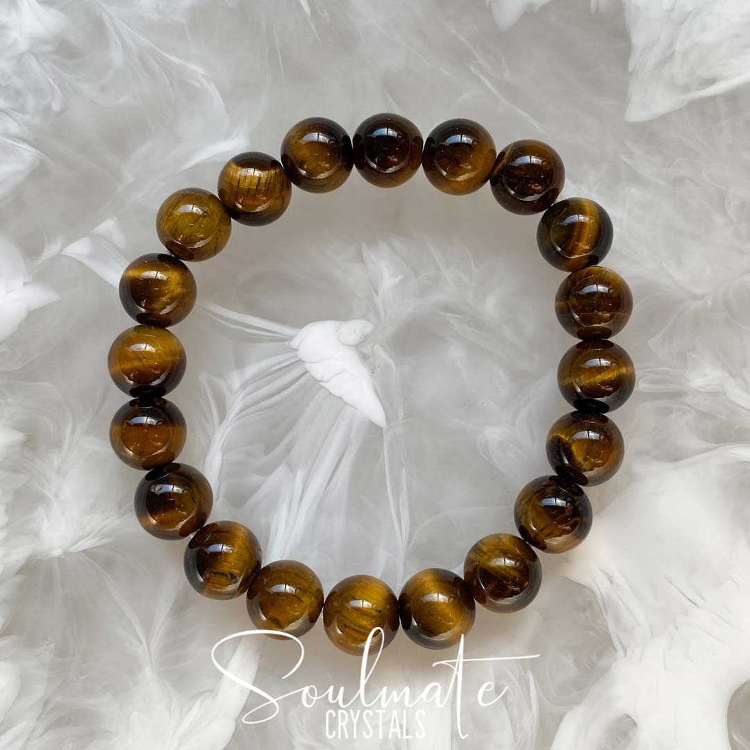 Soulmate Crystal's Gold Tigers Eye Polished Stone Bracelet, Golden Brown Crystal for Courage and Abundance, One Size Fits Most, Crystal Jewellery