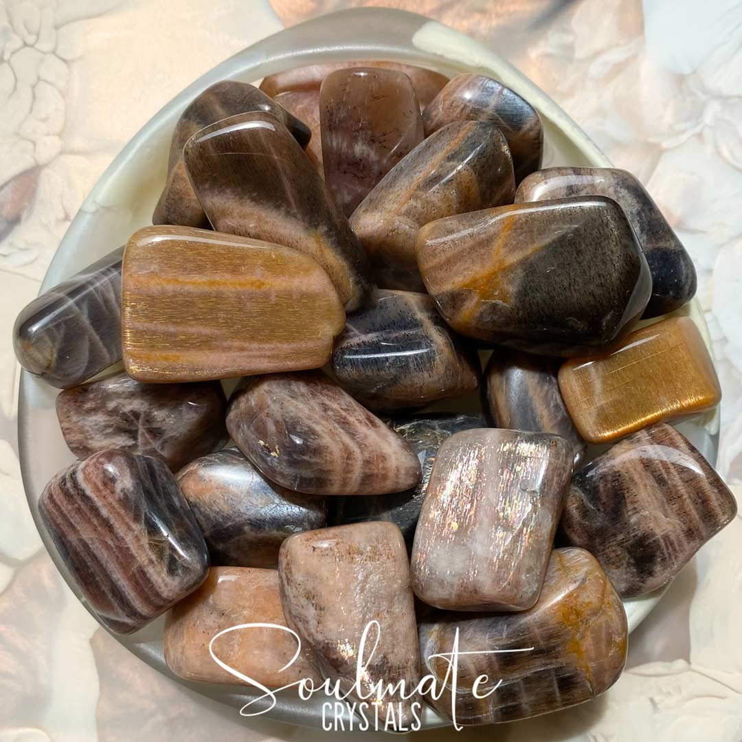 Soulmate Crystals Golden Feldspar Tumbled Stone, Golden Earth Tone Crystals for Vitality, Courage, Positivity and Prosperity.