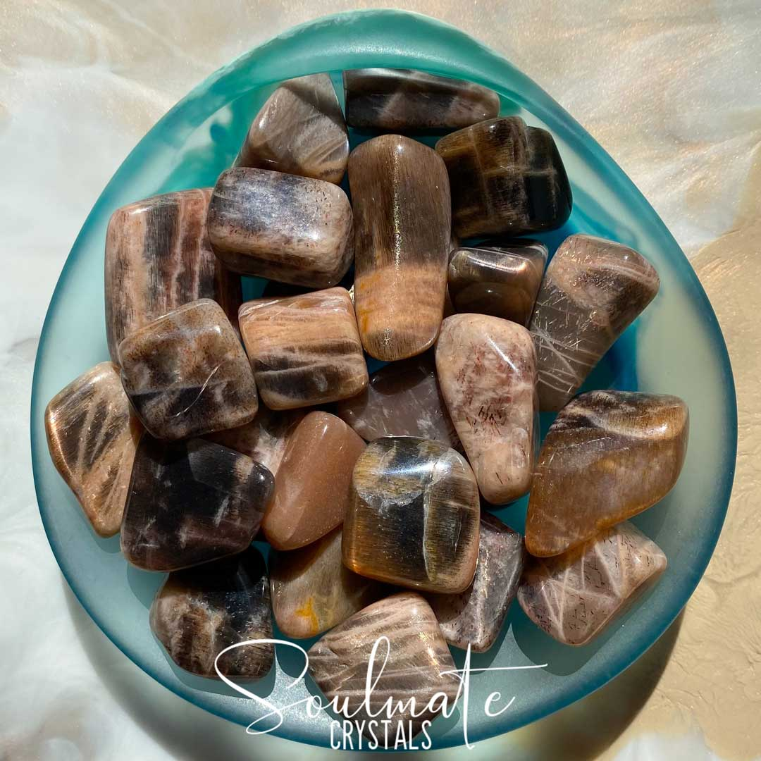 Soulmate Crystals Golden Feldspar Tumbled Stone, Golden Earth Tone Crystals for Vitality, Courage, Positivity and Prosperity
