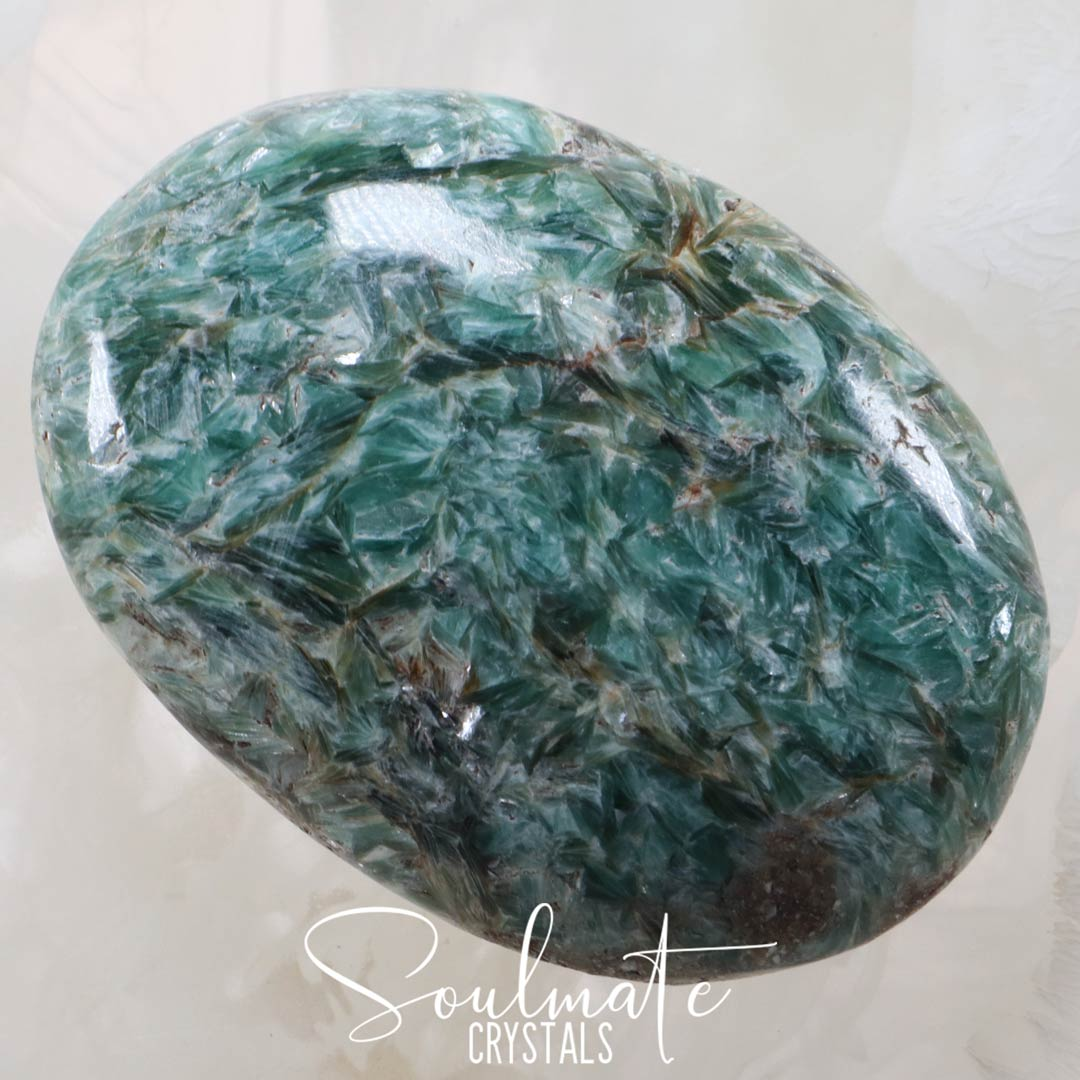 Soulmate Crystals Blue Green Paraiba Kyanite Palm Stone, Polished Teal-Green-Blue Crystal for Emotional Balance, Empowerment and Flow, Size XL, Extra Large