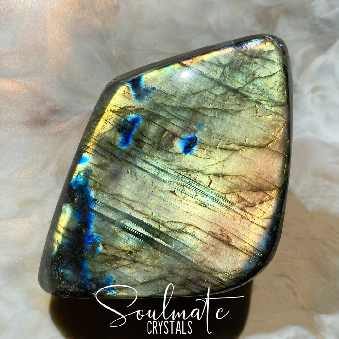 Soulmate Crystals Labradorite Polished Freeform Small XQ, Blue, Gold, Orange Flashy Crystal, Extra Quality Grade Mineral Specimen