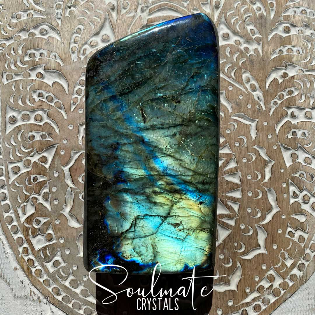 Soulmate Crystals Labradorite Polished Freeform XL XQ, Blue Green Flashy Crystal, Extra Quality Grade Mineral Specimen