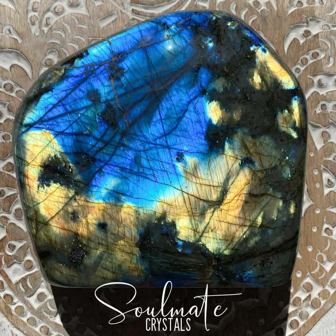 Soulmate Crystals Labradorite Polished Freeform XL XQ, Blue Gold Flashy Crystal, Extra Quality Grade Mineral Specimen