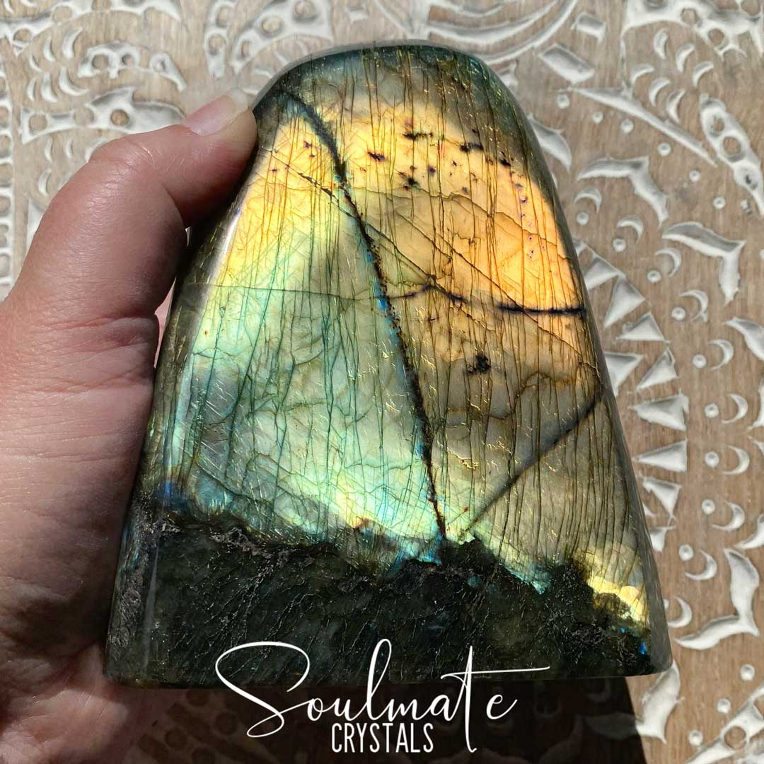 Soulmate Crystals Labradorite Polished Freeform XL XQ, Green, Gold Flashy Crystal, Extra Quality Grade Mineral Specimen
