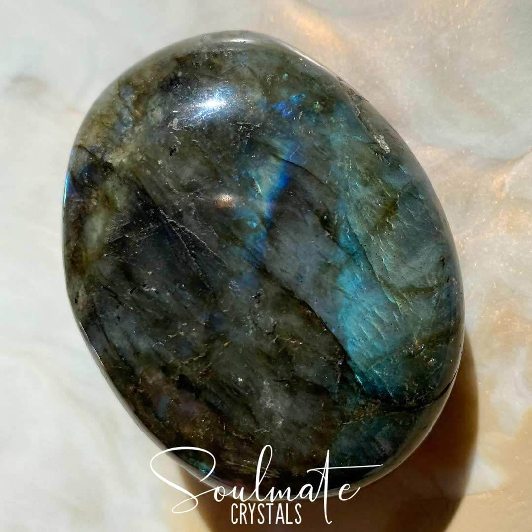 Soulmate Crystals Labradorite Polished Palm Stone, Blue Flashy Crystal, Size XL, Grade AA