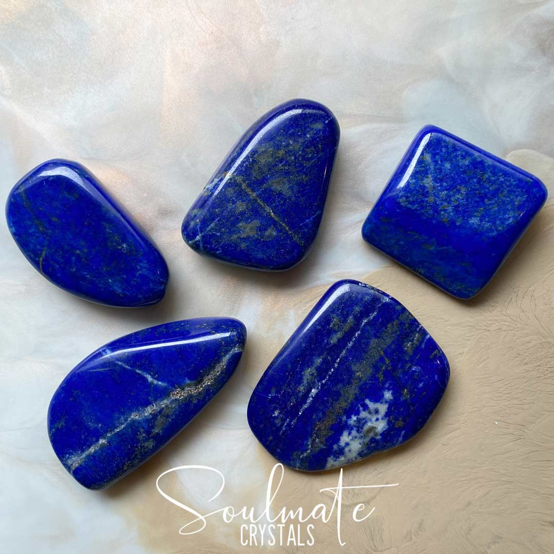 Soulmate Crystals Lapis Lazuli Tumbled Stone, Flat Polished Shapes of Blue Lapis Lazuli Crystal for Wisdom, Spiritual Transformation, Size XL, Extra Large