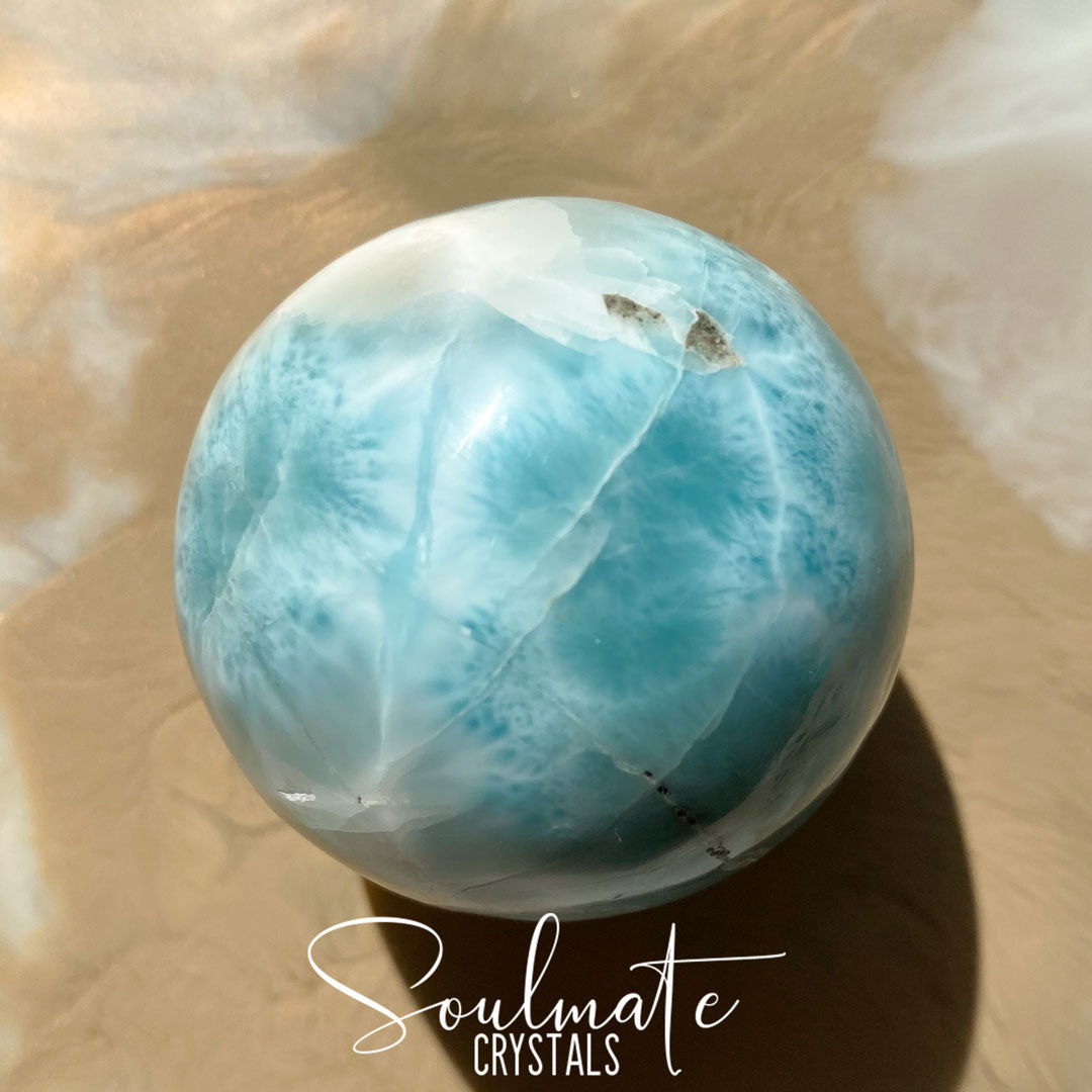 Soulmate Crystals Larimar Polished Sphere, Rare Blue Crystal for Truth, Love, Peace, Harmony