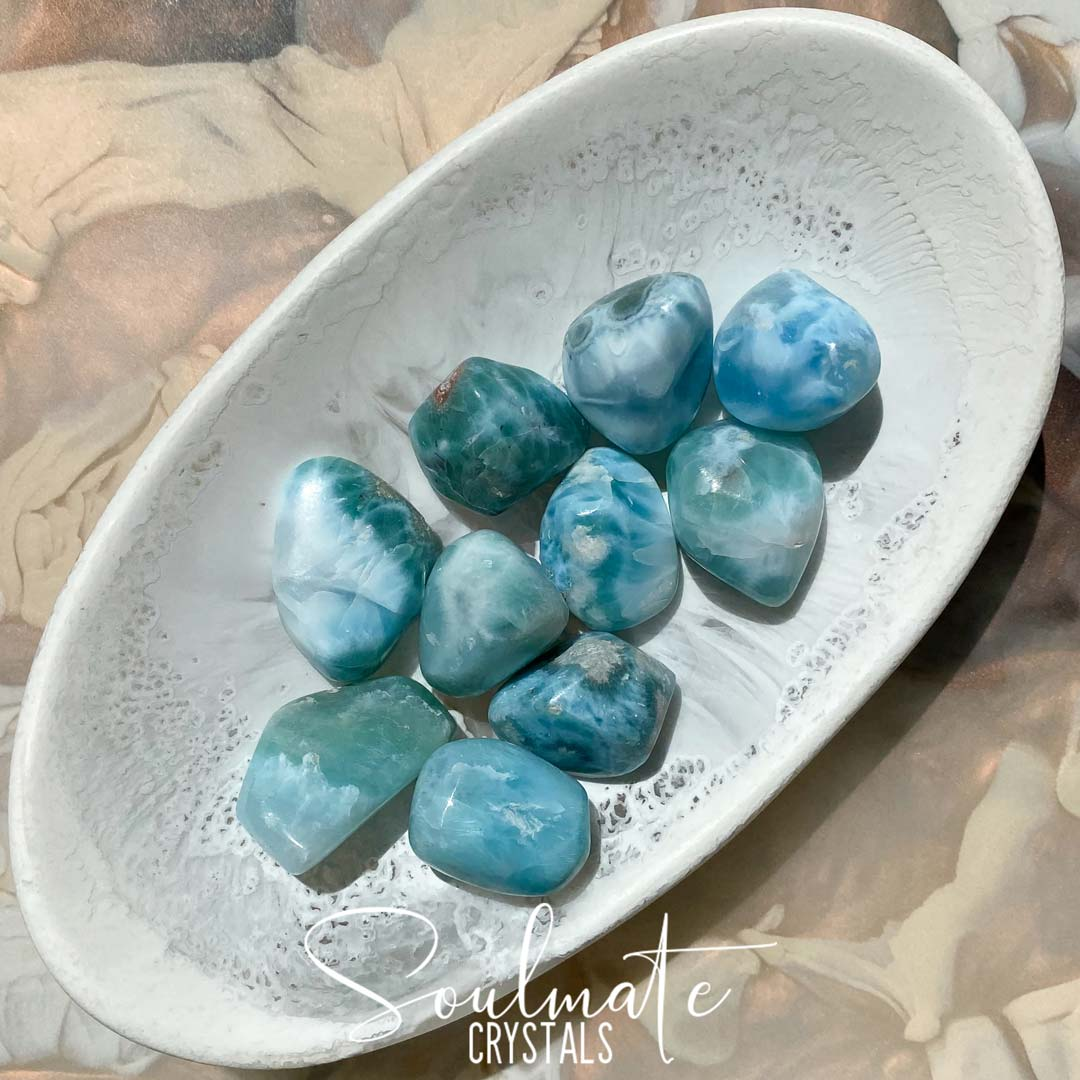 Soulmate Crystals Larimar Tumbled Stone, Rare Blue Crystal for Truth, Love, Peace, Harmony
